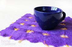 Carré de feutrine boire Coaster Set violet Merino par CoffeeGrains