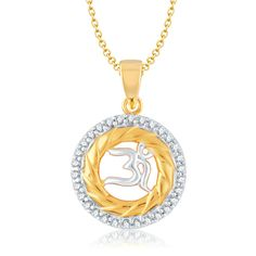 VK Jewels OM SHAKTI Gold and Rhodium Plated Pendant
