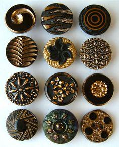 12 x 19mm Antique & Vintage Black Glass Buttons With Gold Trim & Lustre