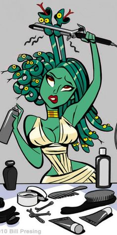 Medusa - I just love this! Growing up 'cuz of my curly hair I was jokingly called Medusa; after a shower just getting out of bed. Horror Comics, Sketch Manga, Art Design, Oeuvre D'art, Cartoon Network, Nerdy, Curly Hair Styles, Curly Hair Jokes, Pin Up