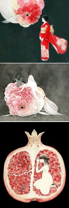 Beautifully odd illustrations by Midori Yamada, on the blog today! http://www.artisticmoods.com/midori-yamada/