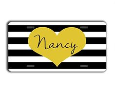 Cute license plate with name or text  Black and white stripes with gold heart  Monogrammed front car tag ** Find out more about the great product at the image link.Note:It is affiliate link to Amazon.
