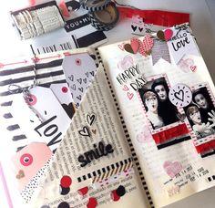 Smash Book Inspiration, Bullet Journal Inspiration, Mini Scrapbook Albums, Mini Albums, Book Journal, Journals, Altered Books, Travelers Notebook, Paper Design