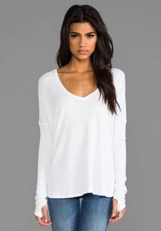 NWT FEEL THE PIECE White V Neck Drop Shoulder Top One Size #Feelthepiece #Vnecktop #Casual