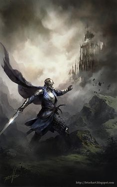 I like this picture, but it looks like there are shards of the rocks flying off, as though he just hit them with his sword. What is he attacking? Ghosts? Worms? Annoying little ants?