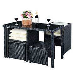 MASCARELLO® 5pc Rattan Patio Set Outdoor Furniture Garden Table 2x Ottomans 2x Chairs