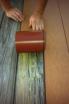 DIY-cover your ugly deck boards.it's like a roll out laminate topping for your deck. It extends the life, is easy to clean and protects from splinters and termites.--Will have to remember this for the pool deck. Outdoor Projects, Home Projects, Home Decoracion, Termite Control, My Pool, Tips & Tricks, Decks And Porches, Outdoor Gardens, Outdoor Living