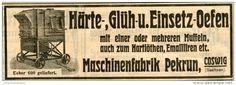 Original-Werbung/ Anzeige 1903 : HÄRTE- GLÜH- UND EINSETZOEFEN / MASCHINENFABRIK PEKRUN COSWIG - ca  145 x 50 mm