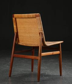 Jørgen Høj; Teak and Cane Side Chair for Thorald Madsen, 1951.
