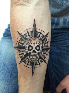 Compass Sugar Skull Tattoo