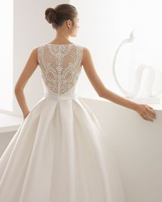 Rosa Clará Collection Classic-style beaded lace and mikado wedding dress with illusion back and bow at waist. Plain Wedding Dress, Classy Wedding Dress, Weeding Dress, Wedding Dress Styles, Dream Wedding Dresses, Designer Wedding Dresses, Bridal Dresses, Wedding Bodysuit, Wedding Dress Accessories