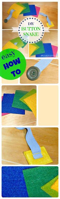 An old idea, but one of all-time favorits among toddlers: a snake for learning buttoning and fine motor skills. Do you want to make one too? It's easy - have a look for a step-by-step how to!