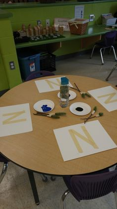 Blog post about the Letter N art we did in class. Using pine needle paintbrushes, students created a night sky!