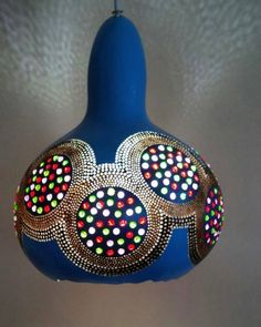 Decorative Gourds, Gourd Lamp, Lampshades, Mosaic Glass, Folk Art, Dots, Candles, Ornaments, Crafts