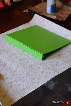How to Cover Ugly Binders With Pretty Paper: DIY Notebooks : Thrift Diving Blog