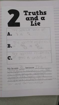 Math = Love: Two Truths and a Lie Activity Template