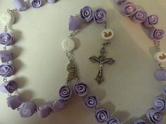 Prolife precious feet and baby symbol clay rosary by barganbright, $25.00