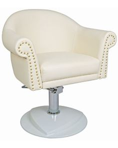 I want this as my office chair. With a little shaggy faux bear fur rug on the back. Home Hair Salons, Home Salon, Patterned Armchair, Artist Chair, Furniture Packages, Salon Chairs, Salon Furniture, Boutique Spa, Salon Design