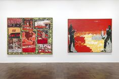 "painting on right ---""Red Sienna"" (1985), oil on canvas, 70 1/2 x 92 inches. Peter Doig"