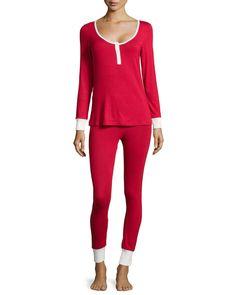 Bedhead Henley Jersey Pajama Set, Red/White
