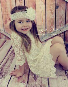 Kutie Tuties - Lace Mini Dress, Flower girl dress, wedding, rustic, vintage, pink, ivory, white, toddler, girl