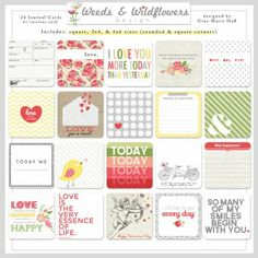 The Love Collection - Simple Squares #29 & Journal Cards by #weedsandwildflowersdesign, #pocketscrapbooking