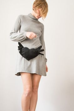 Black Velour Cotton Heart Bag Purse Flying Heart Hipster by Marewo