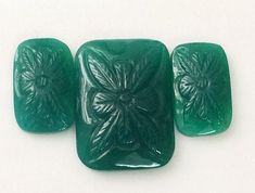 3 Pc Set Green Onyx Hand Carving Natural Green by gemsforjewels