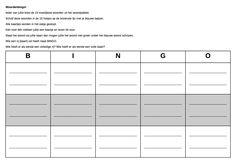 Woordenbingo! Ieder van jullie kiest de 15 moeilijkste woorden uit het woordpakket. Schrijf deze woorden in de 15 hokjes op de bovenste lijn met je blauwe balpen. Alle kaartjes worden in het zakje gestopt. Eén voor één trekken jullie een kaartje en lezen dit voor.  Staat het woord op jullie kaart dan mogen jullie het woord met groen onder het blauwe woord schrijven. Wie een rij (kaart) vol heeft roept BINGO. Wie heeft er als eerste een volledige rij? Wie heeft er als eerste een volle kaart? Fun Learning, Bingo, Grammar, Vocabulary, Teaching, Education, School, Learning, Educational Illustrations