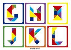 Arte com tangram, letras com tangram,Tangram, Projeto tangram, cards letras tangram, flash cards tangram