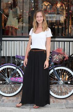 White Tshirt, Black Boho Skirt, Brown Belt, Brown Sandals  With a big necklace and a bigger belt.