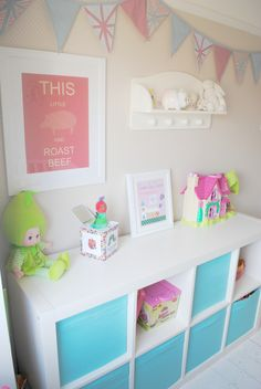 children's bedrooms - love the wallpaper behind the shelves could