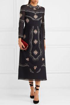 Vilshenko | Sofia embroidered cotton-voile midi dress | NET-A-PORTER.COM