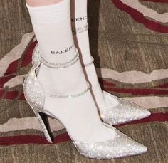 Amazing Outfits : silver glitter pointed toe heels with balenciaga socks Pointed Toe Heels, Stiletto Heels, High Heels, Punk Outfits, Indie Outfits, Heels Outfits, Club Outfits, Office Outfits, Summer Outfits