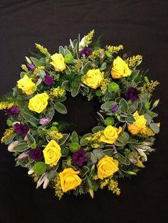 Yellow Rose and Purple Lisianthus Funeral Flower Wreath - Country Garden Florist, Tonbridge