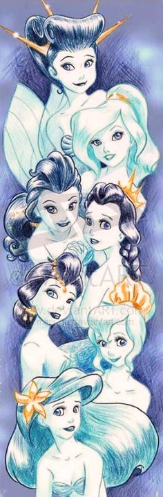 Little Mermaid's Ariel and sisters cartoon