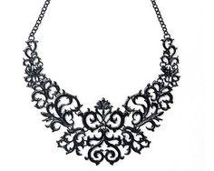 Black laser cut baroque statement necklace, black bib necklace, black collar necklace