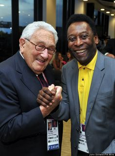 Henry Kissinger (left) and Edson Arantes do Nascimento 'Pele' at the closing ceremony of the 2012 London Olympic Games at the Olympic Stadium in London