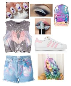 An art collage from April 2017 Holographic, Boho Shorts, Unicorn, Collage, Rainbow, Crop Tops, Polyvore, How To Wear, Women