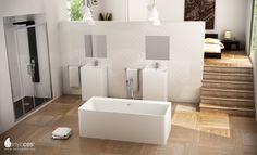 Nueva bañera en Solid Surface modelo Cabanes, que completa un equipamiento a juego con los lavabos,de lo más distinguido en un loft de alto diseño.