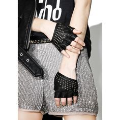 Majesty Black Studded Half Gloves ($100) ❤ liked on Polyvore featuring accessories, gloves, studded leather gloves, bike gloves, studded biker gloves, fingerless leather gloves and real leather gloves