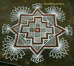 Rangoli Patterns, Rangoli Kolam Designs, Rangoli Ideas, Rangoli Designs With Dots, Kolam Rangoli, Rangoli With Dots, Beautiful Rangoli Designs, Lotus Rangoli, Small Rangoli