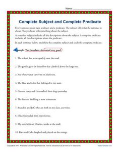 simple subject and predicate worksheet great english tools pinterest free worksheets. Black Bedroom Furniture Sets. Home Design Ideas