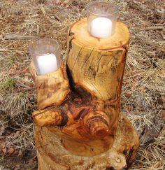 Cute log candle holder