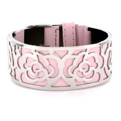 Pink Leather Bracelet with Steel Rose Flower Cutout Plate West Coast Jewelry. $47.95. Save 45%!