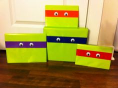 TMNT birthday wrapping!!! Have a feeling I'll be doing this for a special lil boys birthday this summer!! :-)