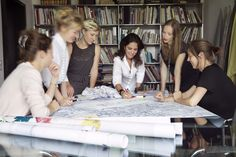 Art Director Camilla Fischbacher and the design team in our headquarters working on new designs. St. Gallen, Switzerland.