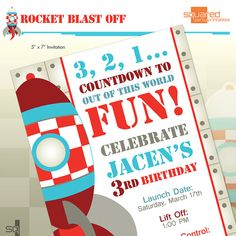 Rocket Ship Spaceship Birthday Party Printable by 2PartyPrintables, $15.00