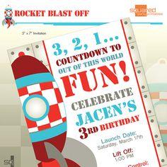 Rocket Ship Spaceship Birthday Party Printable by 2PartyPrintables, $15.00