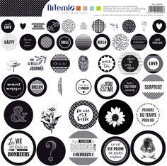 MAXI LOTS 44 STICKERS RONDS PRÉ-DÉCOUPÉS SCRAPBOOKING BLANC NOIR AMOUR ATTRAPE RÊVE LOVE SHABBY CHIC MONOCHROME : Stickers, autocollants par sissi-scrapbooking
